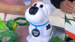 Hoda Kotb, Jenna Bush Hager and Lester Holt try a barking cookie jar
