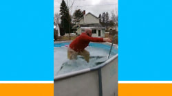 Watch this man go for an icy dip in his swimming pool