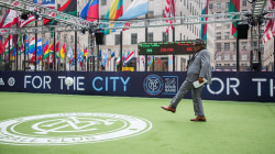 TODAY plaza is the site of a 24-hour soccer match