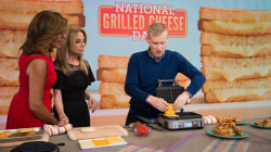 How to use baking sheets to make grilled cheese sandwiches for a crowd