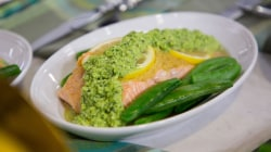 Make Ryan Scott's foil-packet salmon with snap peas, edamame pesto