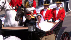 Carriage procession carries Duke and Duchess of Sussex to greet adoring crowds