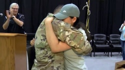 Watch military dad surprise his daughter at her high school graduation