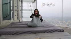 Donnadorable rides the 1,000-foot-high glass Skyslide in Los Angeles