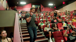 Chris Pratt surprises kids at a 'Jurassic World' screening