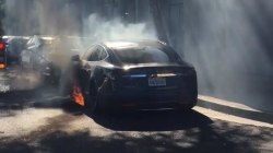 Tesla electric car bursts into flames