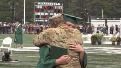See returning military dad surprise his son at graduation