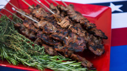 July Fourth food: BBQ beef skewers, fruit feta salad and rice cereal pops