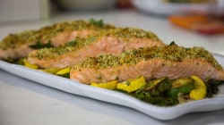 Laura Vitale makes delicious 1-pan herb-crusted salmon, veggies