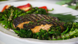 Chef Judy Joo makes grilled miso glazed salmon and broccolini