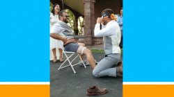 Brother pranks blindfolded groom by replacing bride in garter removal
