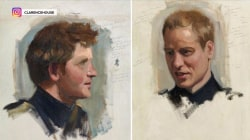 Never-before-seen double portrait of Prince Harry and Prince William now on display