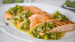 Scott Conant makes simple grilled salmon and summer salad