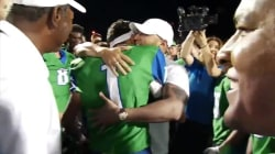 Father serving overseas surprises football player son in sweet video