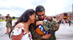 Marine returns home, meets new baby boy in tearful video