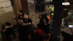 Police in riot gear break up violence at Portland protest