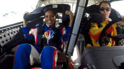 Sheinelle Jones gets behind the wheel with NASCAR's Joey Logano