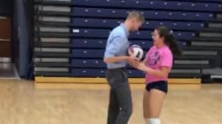 Watch: Boyfriend's proposal begins with volleyball fumble