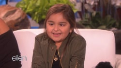 Ellen meets Pharrell fan Ellie, a young cancer survivor