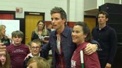 See the 'Fantastic Beasts' cast pay a surprise visit to Alabama school