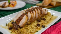 A delicious holiday meal: Roasted pork loin with cabbage and more