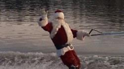 Santa Claus goes water skiing in Washington state