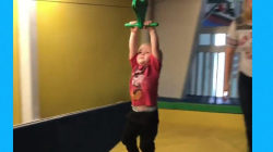Adorable little boy crashes trying out zip lining