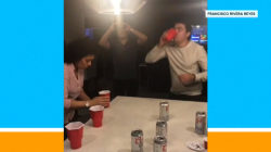 Watch as grandma schools competition in flip cup