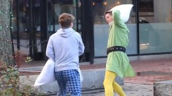 Firefighter channels Buddy the Elf, challenging strangers to pillow fights