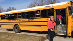 Grandma gets sweet birthday surprise from school bus kids