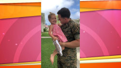 Marine dad comes home to surprise daughter in gift-wrapped box