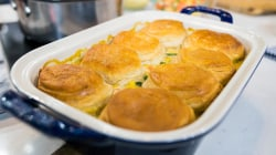 Ultimate winter comfort foods: pot sticker soup, chicken pot pie