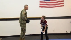 Military dad gives son sweet surprise in taekwondo class