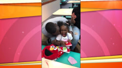 For the love of Elmo! Little girl overjoyed by new Muppet sneakers