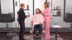 Jason Sudeikis gets a haircut from Olivia Wilde and Ellen