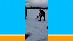 Watch: Ice fishers battle an out-of-control drill