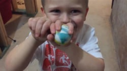Watch this dad play along with son's magic trick