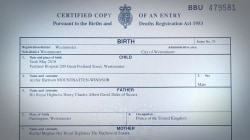 Royal baby Archie's birth certificate released