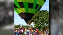 Rogue hot-air balloon crash caught on video