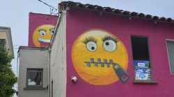Pink emoji house launches standoff with neighbor
