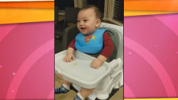 Baby squeals with delight when grandma feeds him