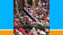 Sibling showdown! Kids battle it out on the balance beam