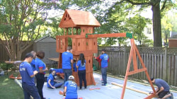 Volunteers build surprise playground for 4-year-old battling brain cancer