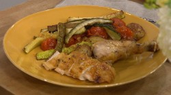 Pioneer Woman Ree Drummond cooks with roast chicken