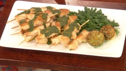 Make Alex Guarnaschelli's chicken skewers with pesto