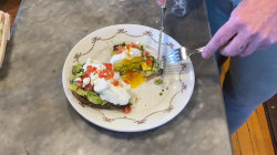Make chef Anne Burrell's feta and avocado toast with a poached egg