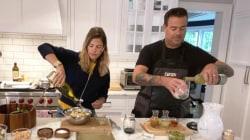 Carson and Siri Daly make chopped salad, white peach sangria