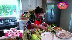 Chef Alex Guarnaschelli whips up delicious turkey sandwiches during Rokerthon