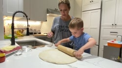 Dylan Dreyer makes game day stromboli with her son Calvin