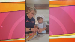 2-year-old helps grandma make cookies (while tasting every ingredient)